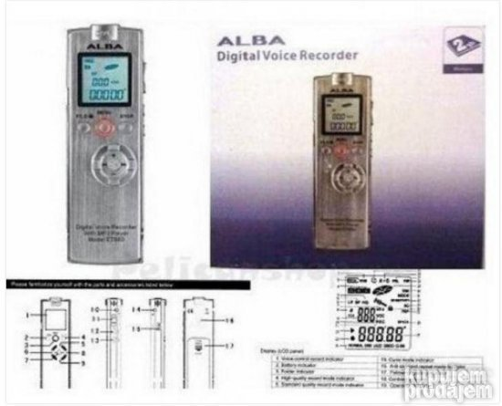 ALBA DIGITAL Voice Recorder ET889 2GB (MP3 CLOCK)