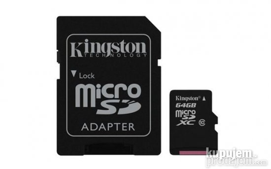 64GB KINGSTON MICRO SD+SD adapter cl10/