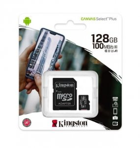 Micro SD 128GB Kingston, klasa 10 PLUS