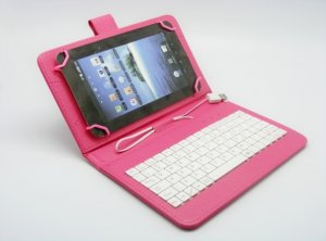 "Uni tablet case Teracell 7"" with keyboard and OTG cable pink"
